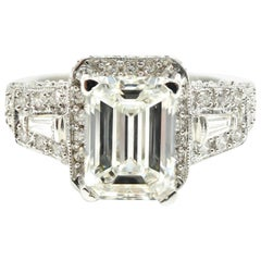 GIA Certified 3.00 Carat Emerald Cut Diamond Engagement Ring 18 Karat White Gold