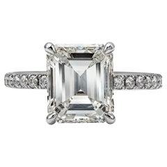GIA Certified 3.00 Carat Emerald Cut Diamond Pave Engagement Ring
