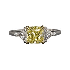 GIA Certified 3.00 Carat Fancy Yellow Cushion Cut Diamond Ring VS2 Clarity