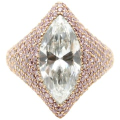 GIA Certified 3.00 Carat Marquise Diamond and Pink Argyle Diamond Cocktail Ring