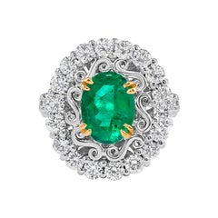 GIA Certified 3.00 Carat Natural Colombian Emerald Platinum Cocktail Ring