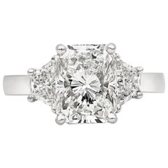 GIA Certified 3.00 Carat Radiant Cut Diamond Three-Stone Engagement Ring