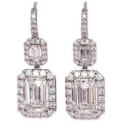 GIA Certified 3.01 & 3.05 Carat Emerald Diamond Earrings