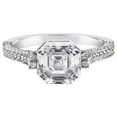 Roman Malakov GIA Certified 3.01 Carat Asscher Cut Diamond Engagement Ring