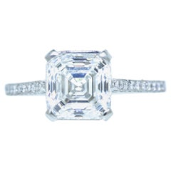 GIA Certified 3.01 Carat Asscher Cut Diamond Ring, Pierre/Famille