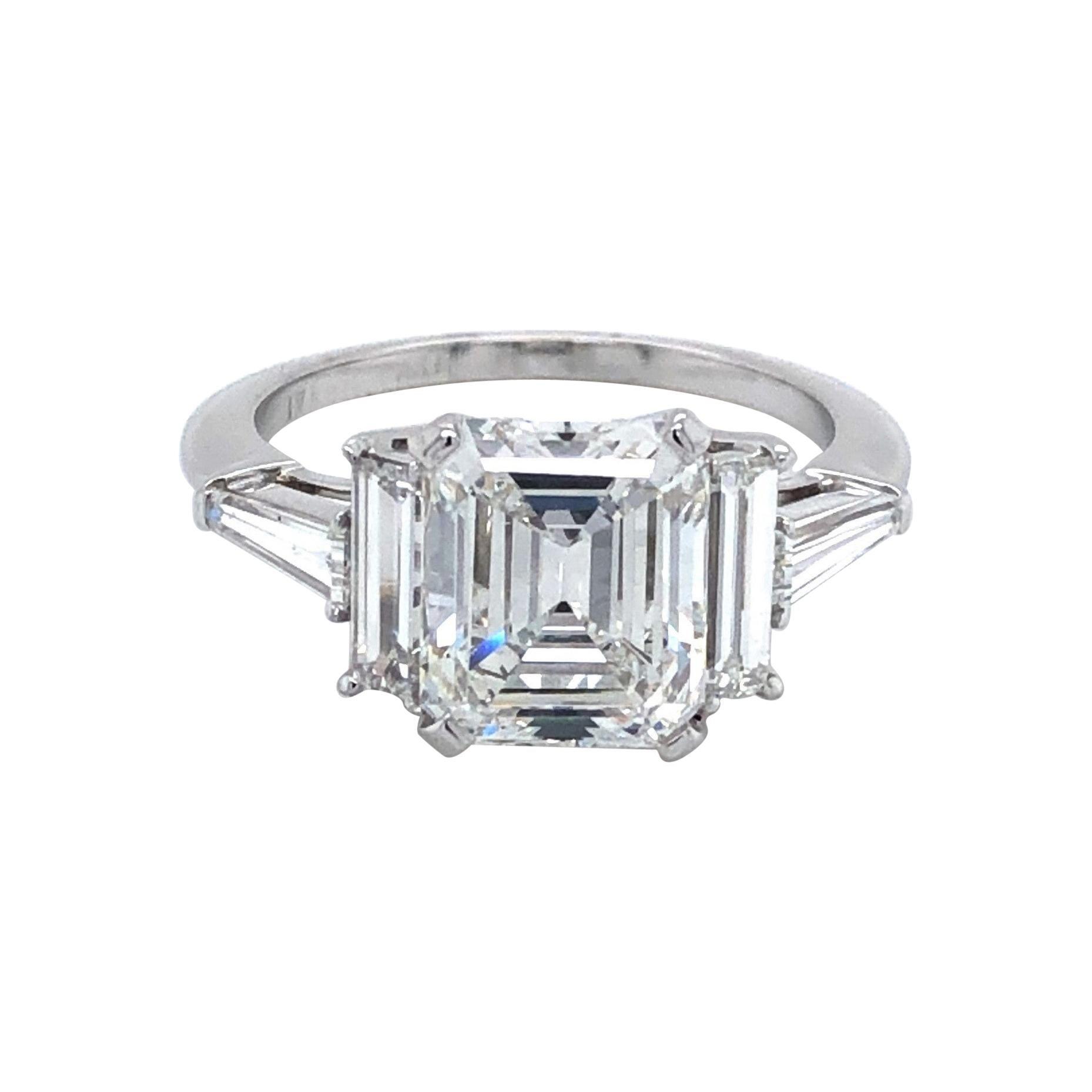 GIA Certified 3.01 Carat Diamond Platinum Engagement Ring