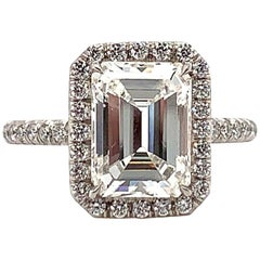 ISSAC NUSSBAUM GIA Certified 3.01 Carat Emerald Cut Diamond Engagement Ring
