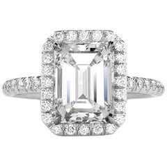 GIA Certified 3.01 Carat Emerald Cut Diamond Engagement Ring