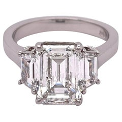 GIA Certified 3.01 Carat Emerald Cut Diamond Engagement Ring Platinum Mounting