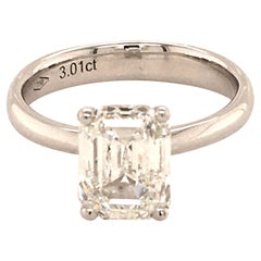 GIA Certified 3.01 Carat Emerald Cut Diamond White Gold Solitaire Ring