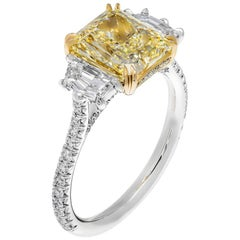 GIA Certified 3.01 Carat Fancy Light Yellow Radiant Cut Three-Stone Ring