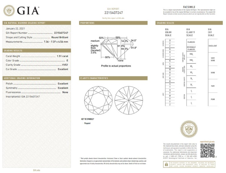 GIA Certified 3.01 Carat GIA Certified Diamond Studs E/F VVS1  In New Condition For Sale In Rome, IT
