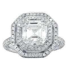 GIA Certified 3.01 Carat I-VS1 Asscher Cut Diamond Ring