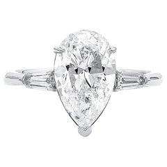 GIA Certified 3.01 Carat Natural White Diamond Engagement Wedding Ring