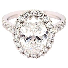 GIA Certified 3.01 Carat Oval Diamond Engagement Ring