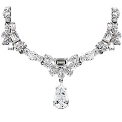 GIA Certified 3.01 Carat Pear Shape Drop Diamond Necklace