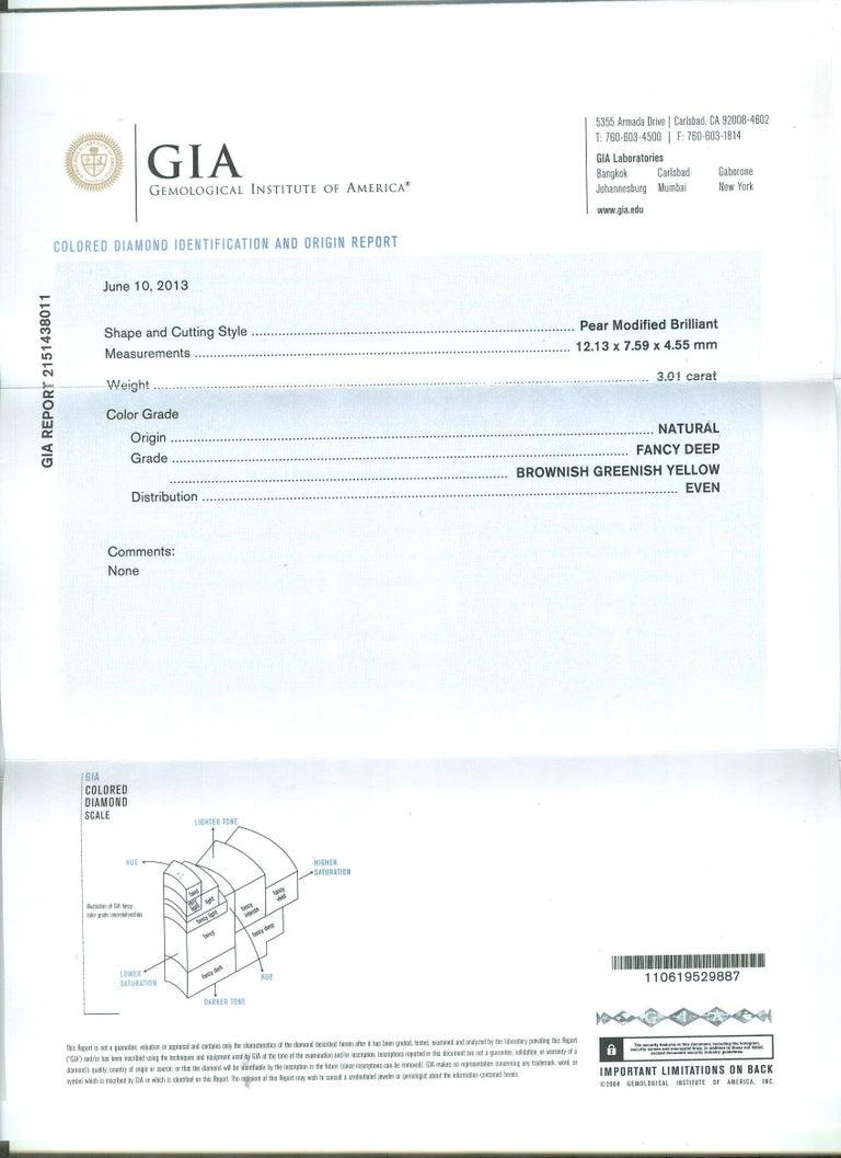 Women's GIA Certified 3.01 Carat Pear Shape Fancy Yellow Diamond Cocktail Ring In Plat For Sale