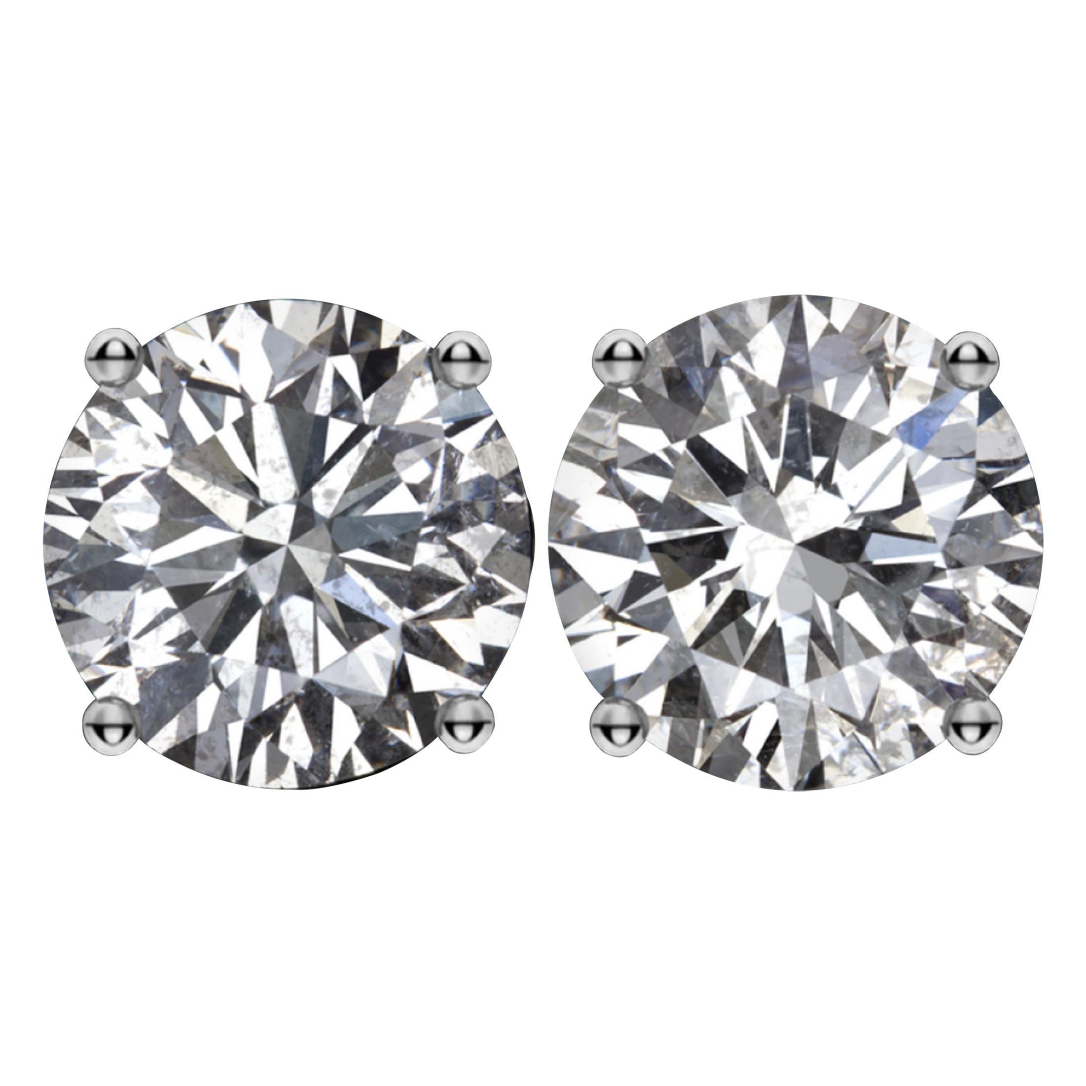 GIA Certified 3.01 Carat Round Brilliant Cut Diamond Studs