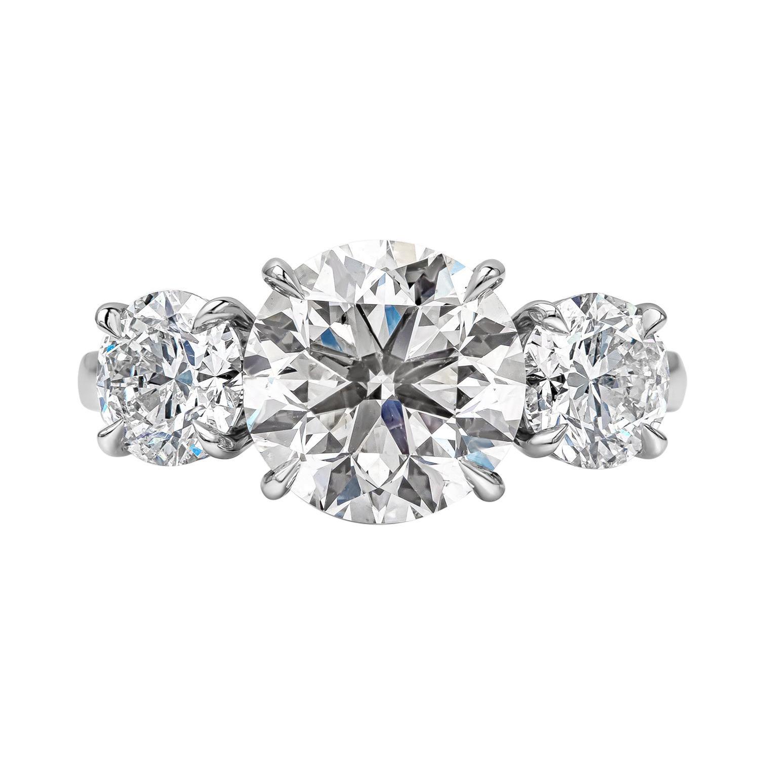 GIA Certified 3.01 Carat Round Diamond Three-Stone Engagement Ring