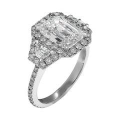 GIA Certified 3.01ct H VVS1 Emerald Cut Three-Stone Ring