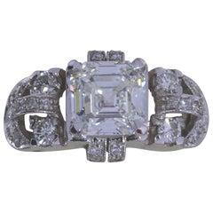 GIA Certified 3.02 Carat Asscher Cut Diamond Art Nouveau Ring