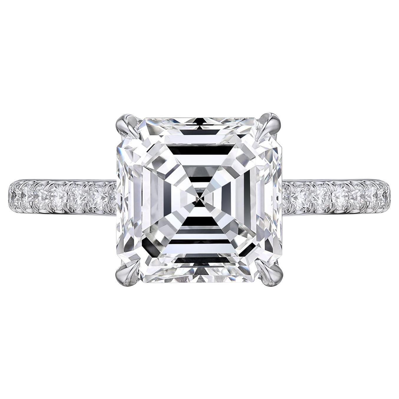 GIA Certified 3.02 Carat Asscher Cut Square Emerald Engagement Platinum Ring