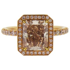 GIA Certified 3.02 Carat Fancy Brown Pink Diamond Engagement Ring