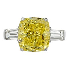 GIA Certified 3.50 Carat Fancy Intense Yellow Cushion Diamond Ring VVS1