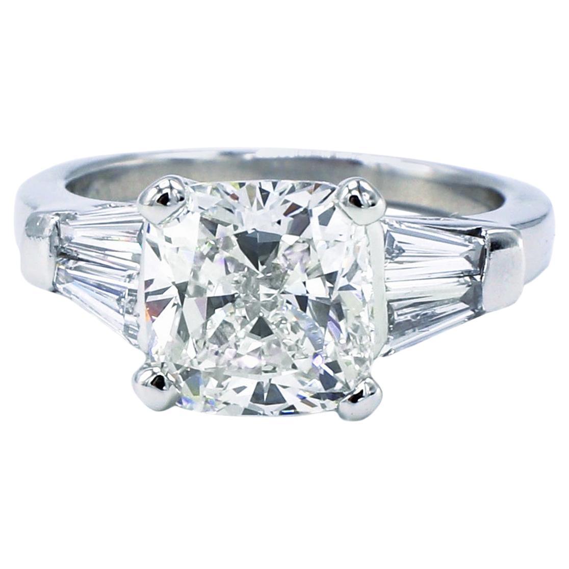 GIA Certified 3.02 Carat J VS1 Cushion Platinum Diamond Engagement Ring