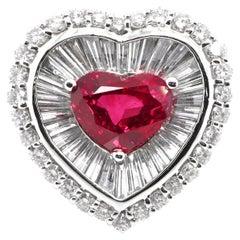 GIA Certified 3.02 Carat Natural Burmese Ruby and Diamond Ring Set in Platinum