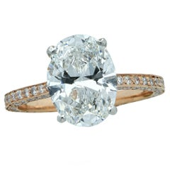 GIA Certified 3.02 Carat Oval Cut Diamond Engagement Ring