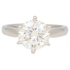 GIA Certified 3.02 Carat Round Brilliant Cut Diamond Ring in White Gold
