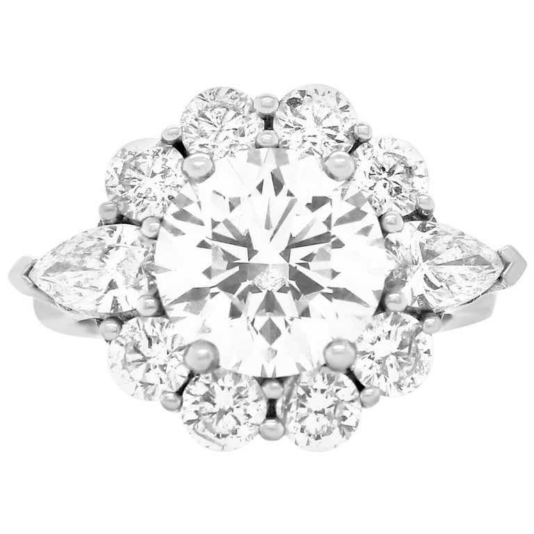 GIA Certified 3.02 Carat Round Diamond Flower Halo Engagement Ring For Sale