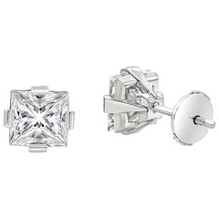 GIA Certified 3.02 Carat Total Princess Cut Diamond Compass Set Stud Earrings