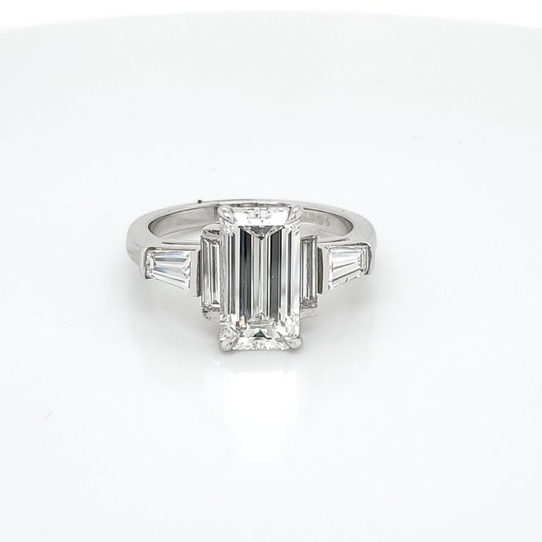 GIA Certified 3.02 Emerald Cut Diamond Five-Stone Ring For Sale 1