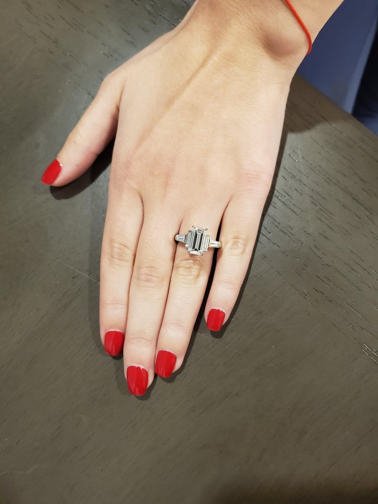 GIA Certified 3.02 Emerald Cut Diamond Five-Stone Ring For Sale 2