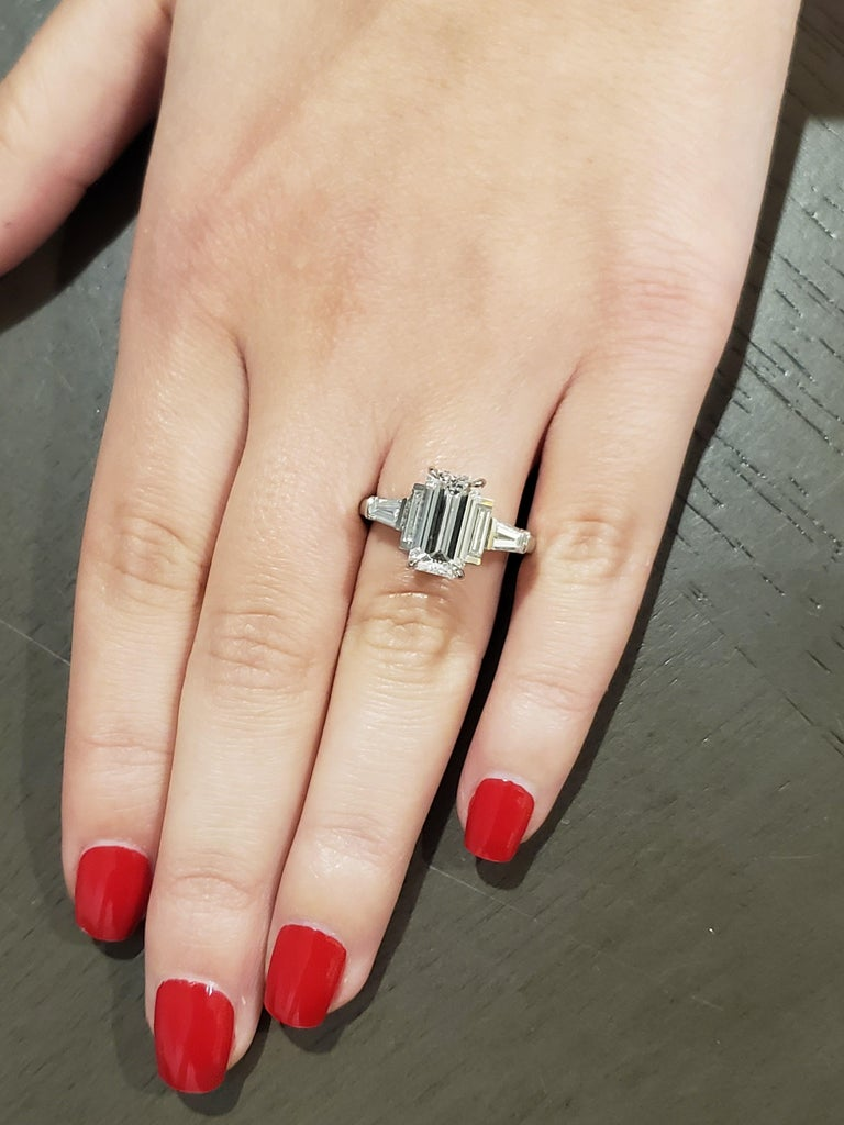 GIA Certified 3.02 Emerald Cut Diamond Five-Stone Ring For Sale 3
