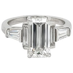 GIA Certified 3.02 Emerald Cut Diamond Five-Stone Ring