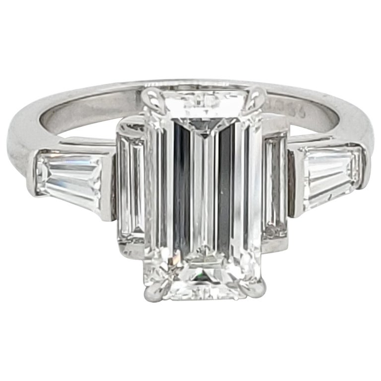 GIA Certified 3.02 Emerald Cut Diamond Five-Stone Ring For Sale