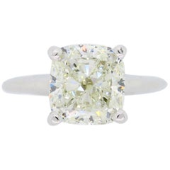 GIA Certified 3.02 Carat Cushion Cut Diamond Solitaire Engagement Ring