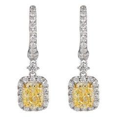 GIA Certified 3.02ct Yellow YZ Diamond Drop Earrings with Halo 18k White Gold