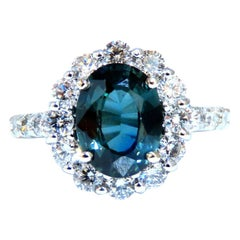 GIA Certified 3.03 Carat Green Blue Sapphire Diamond Ring Fine