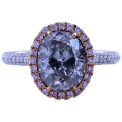 GIA Certified 3.03 Carat Oval Natural Light Blue SI2 Diamond Engagement Ring