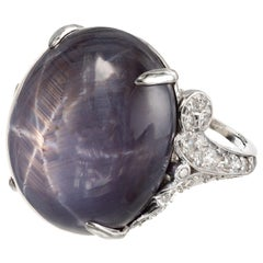 GIA Certified 30.37 Carat Oval Cabochon Star Sapphire Diamond Platinum Ring