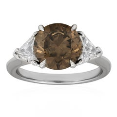 GIA Certified 3.04 Carat Brown Diamond Three-Stone Engagement Ring