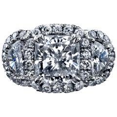 GIA Certified 3.04 Carat Cushion Cut 3-Stone Diamond Ring