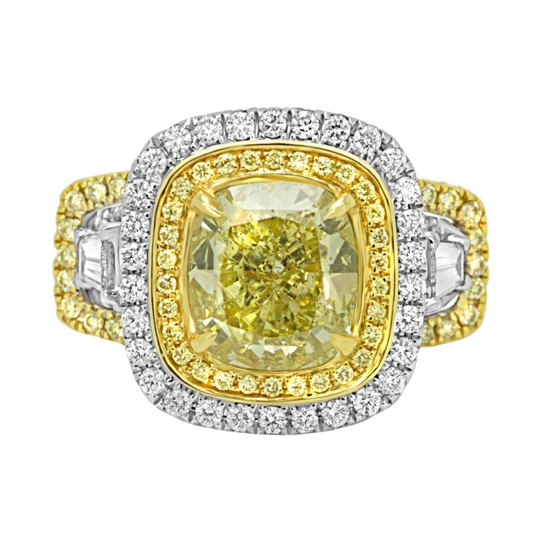 GIA Certified 3.04 Carat Fancy Yellow Diamond Double Halo Two-Color Gold Ring