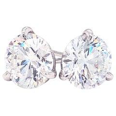 GIA Certified 3.04 Carat Round Cut VS2 14 Karat White Gold Diamond Stud Earrings