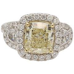 GIA Certified 3.04 Carat Yellow Cushion Cut Halo Diamond Engagement Ring