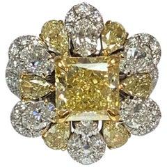 GIA Certified 3.05 Carat Center Fancy Intense Yellow IF Clarity Diamond Ring